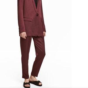 H&M Burgundy Satin Pants - 6